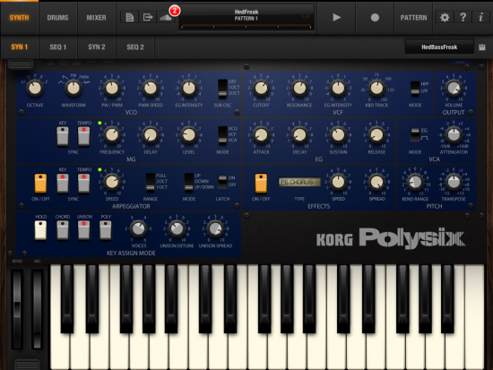 Korg iPolysix iPad Screenshot