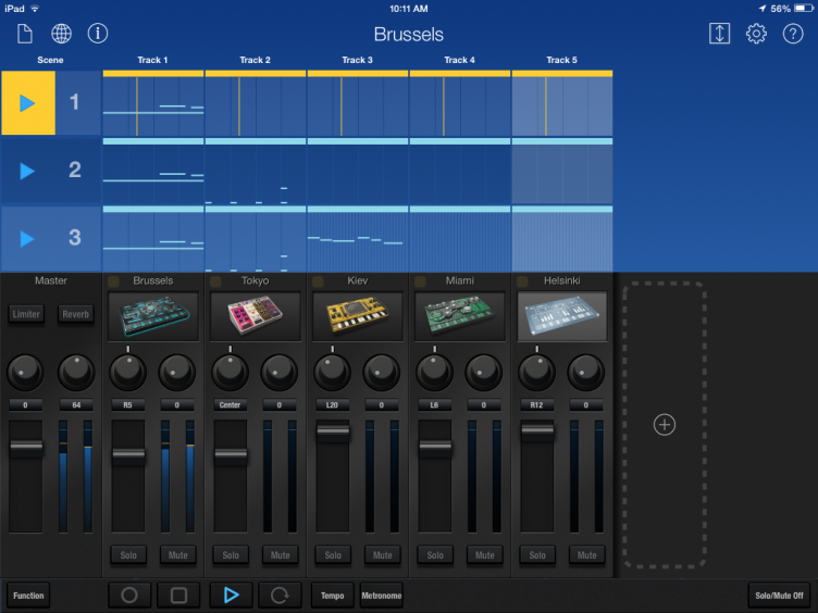 Korg Gadget in Landscape Mode